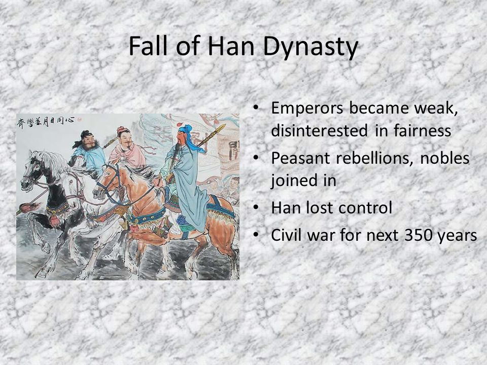 Fall of Han Dynasty Emperors became weak, disinterested in fairness