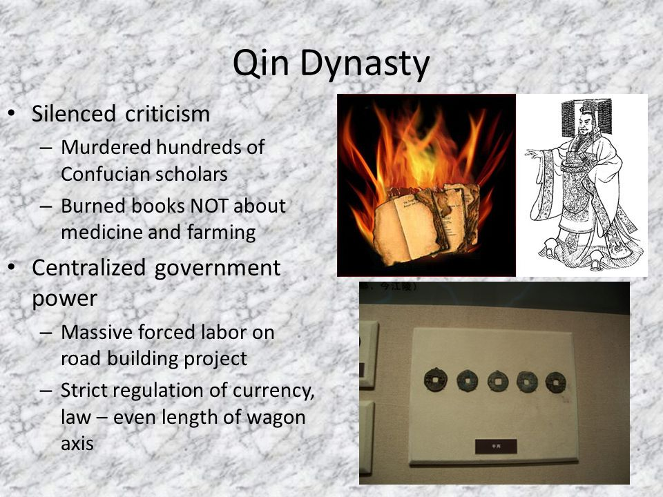 Qin Dynasty Silenced criticism Centralized government power