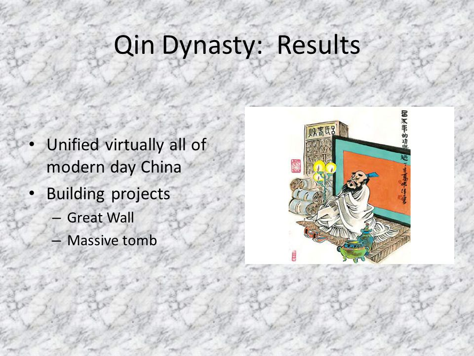Qin Dynasty: Results Unified virtually all of modern day China