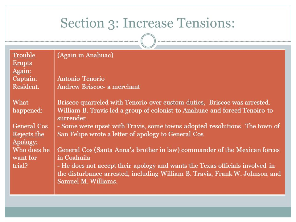 Section 3: Increase Tensions: