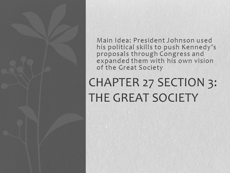 Chapter 27 Section 3: The Great Society