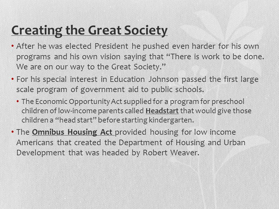 Creating the Great Society