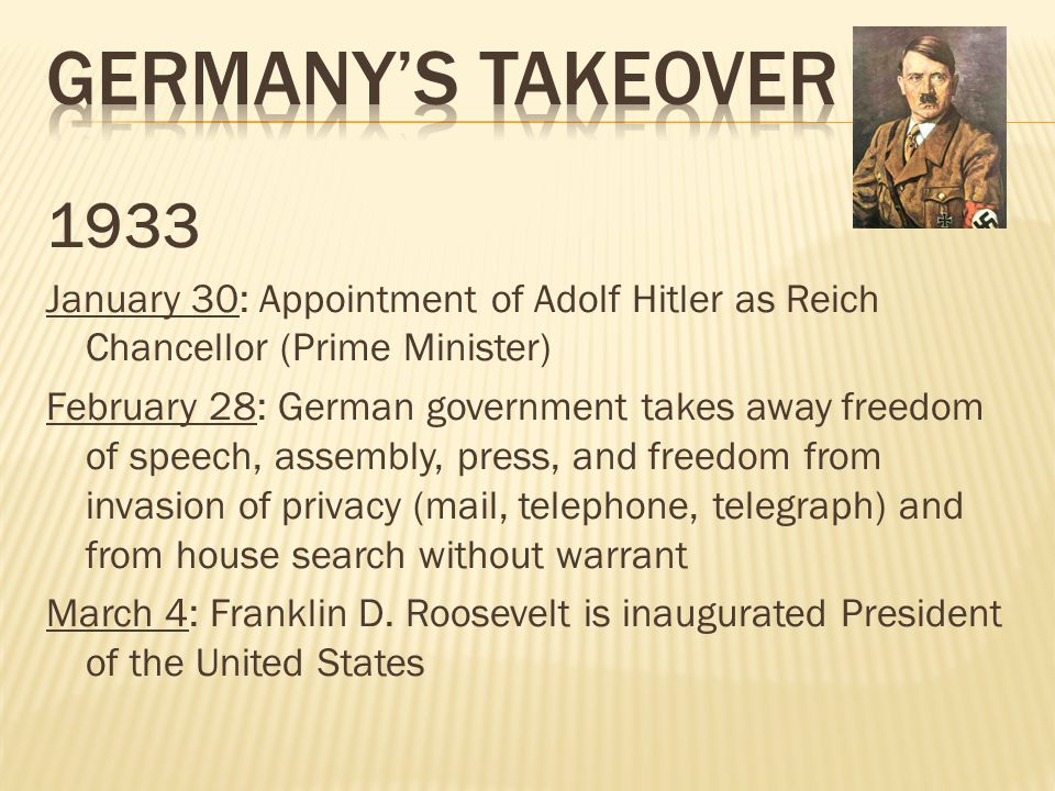 Germany's takeover 1933. January 30: Appointment of Adolf Hitler as Reich Chancellor (Prime Minister)