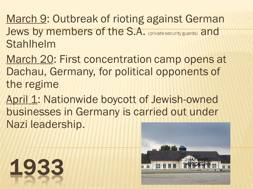March 9: Outbreak of rioting against German Jews by members of the S.A. (private security guards) and Stahlhelm