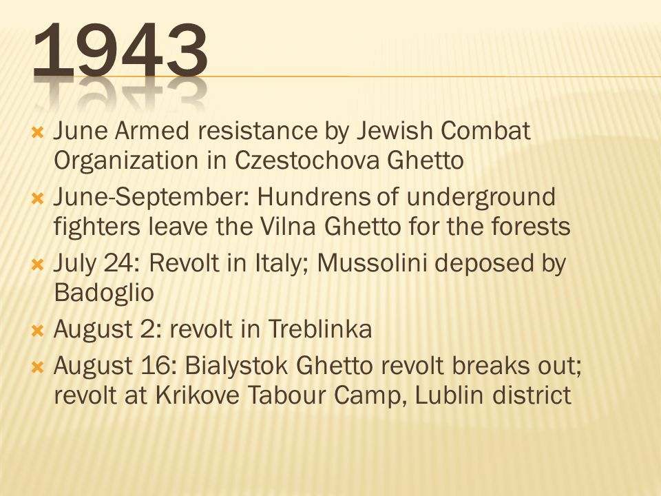 1943 June Armed resistance by Jewish Combat Organization in Czestochova Ghetto.