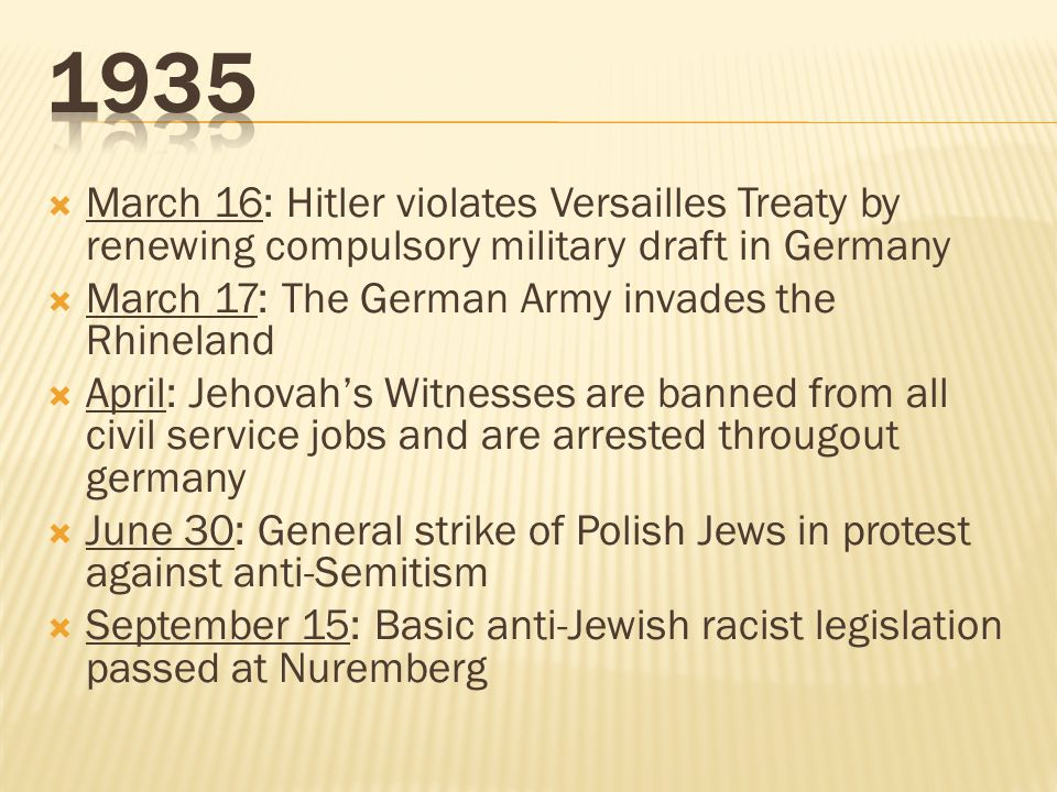 1935 March 16: Hitler violates Versailles Treaty by renewing compulsory military draft in Germany. March 17: The German Army invades the Rhineland.