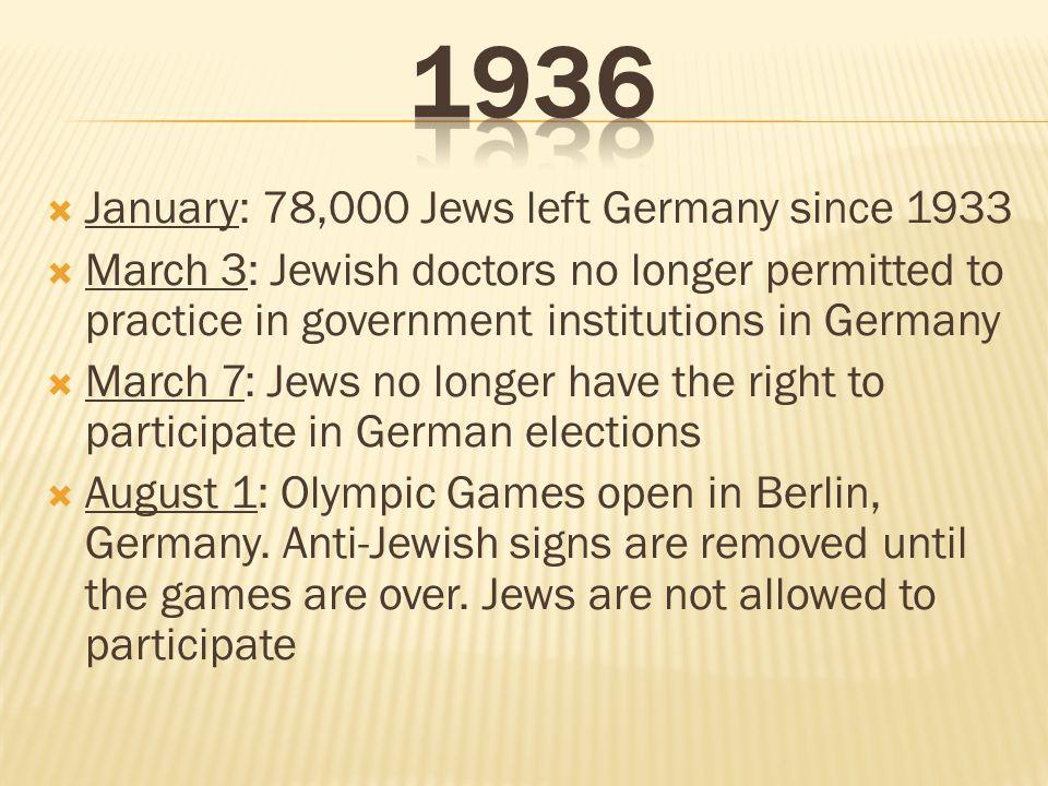 1936 January: 78,000 Jews left Germany since 1933