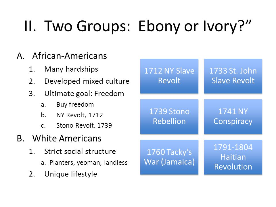 II. Two Groups: Ebony or Ivory
