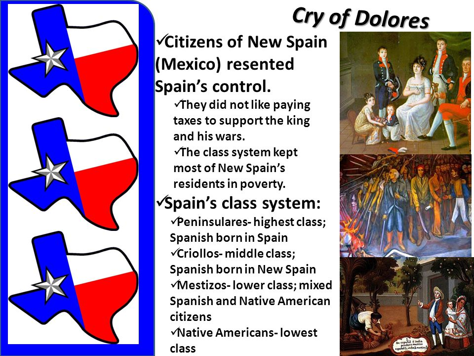 Cry of Dolores Citizens of New Spain (Mexico) resented Spain's control.