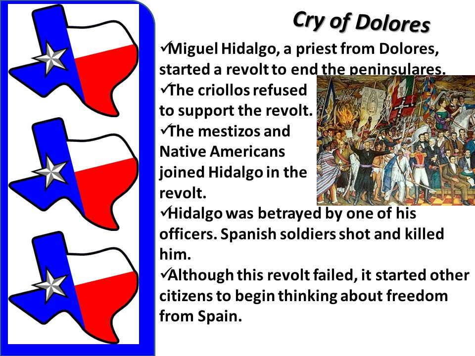 Cry of Dolores Miguel Hidalgo, a priest from Dolores, started a revolt to end the peninsulares.