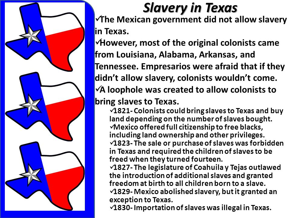 Slavery in Texas The Mexican government did not allow slavery in Texas.