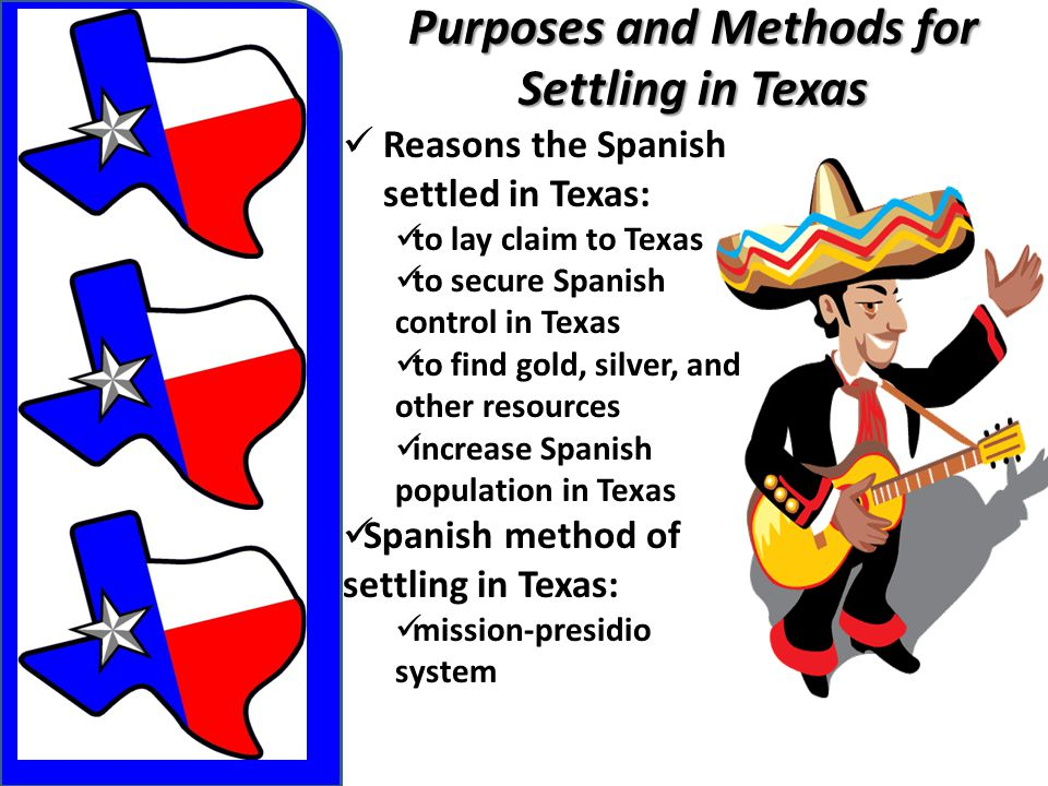 Purposes and Methods for Settling in Texas