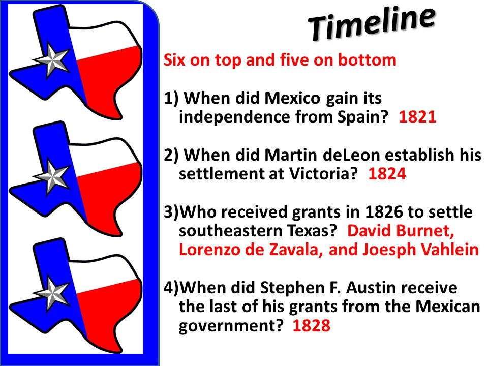 Timeline Six on top and five on bottom