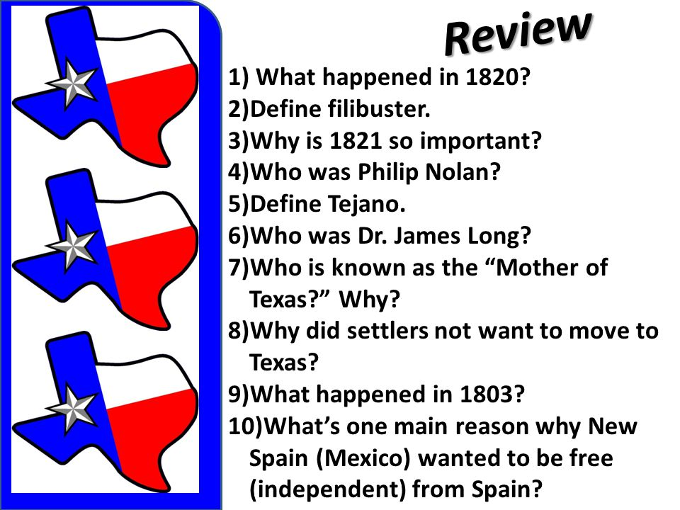 Review What happened in 1820 Define filibuster.