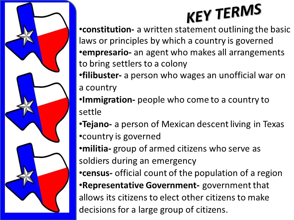 KEY TERMS constitution- a written statement outlining the basic laws or principles by which a country is governed.