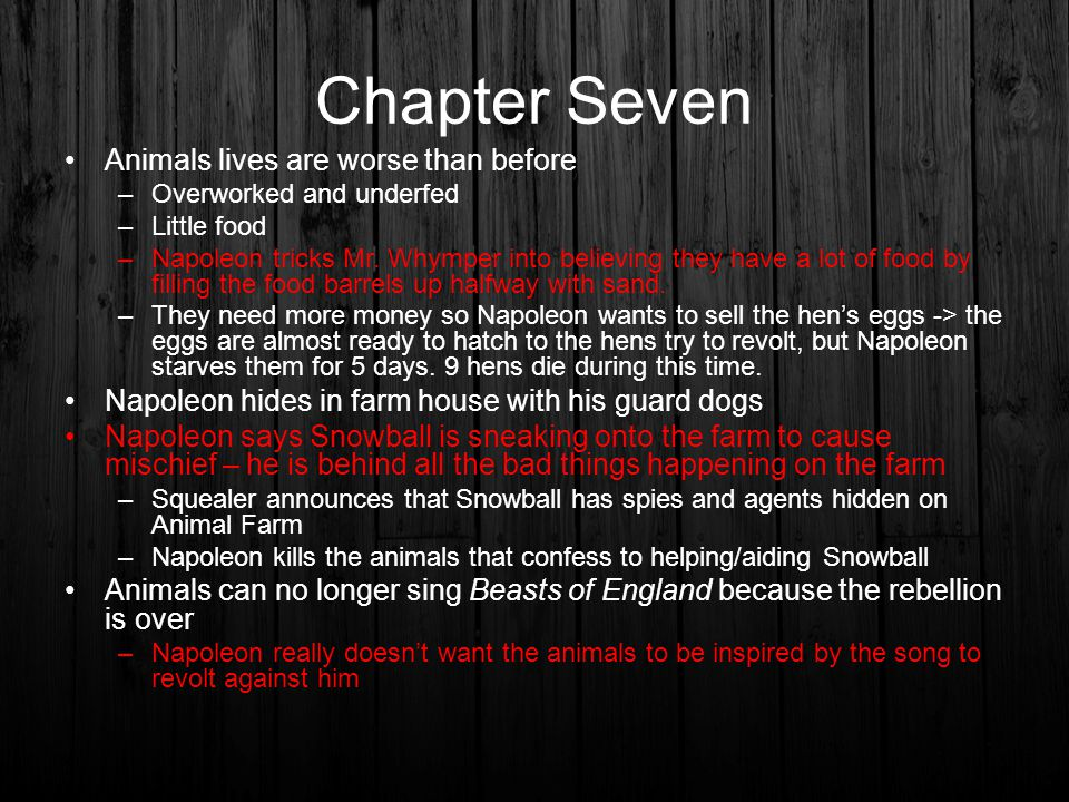 Chapter Seven Animals lives are worse than before