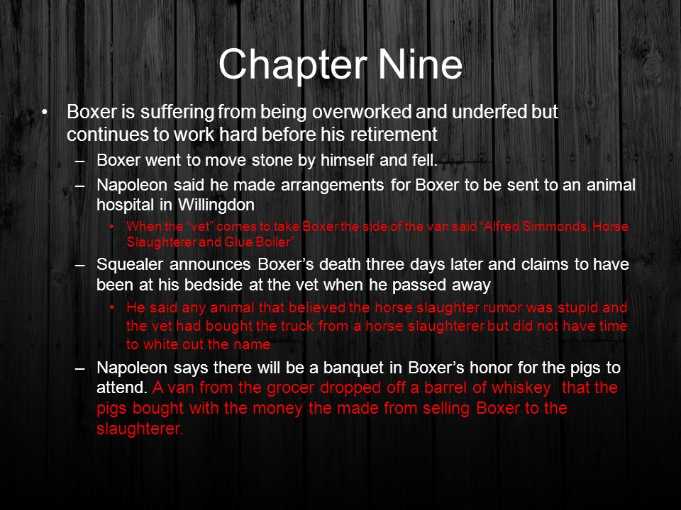 Chapter Nine Boxer is suffering from being overworked and underfed but continues to work hard before his retirement.