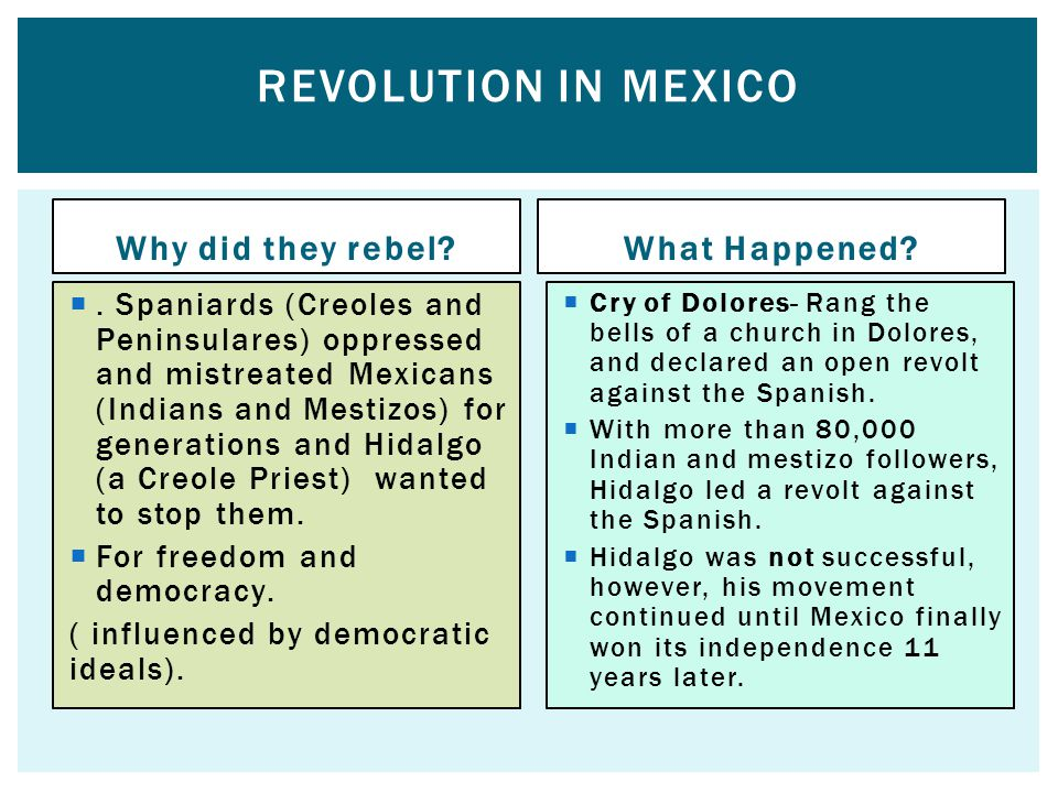 Revolution in Mexico Why did they rebel What Happened