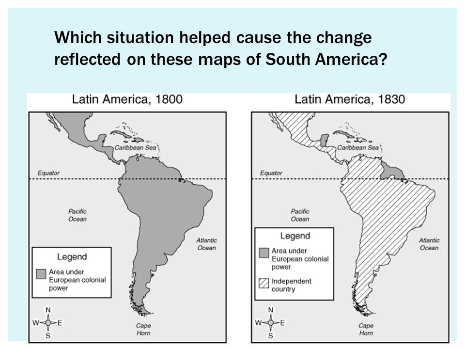 Which situation helped cause the change reflected on these maps of South America
