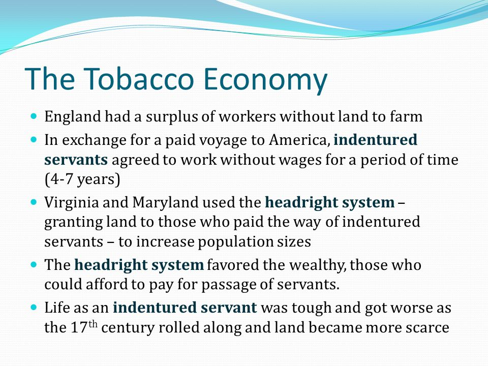 The Tobacco Economy England had a surplus of workers without land to farm.