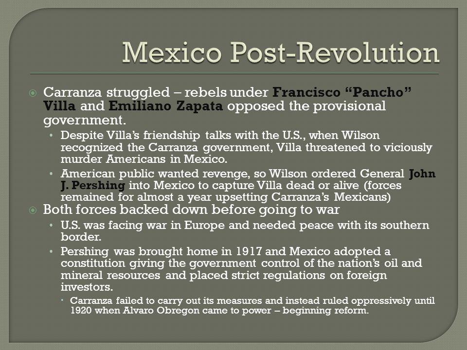Mexico Post-Revolution