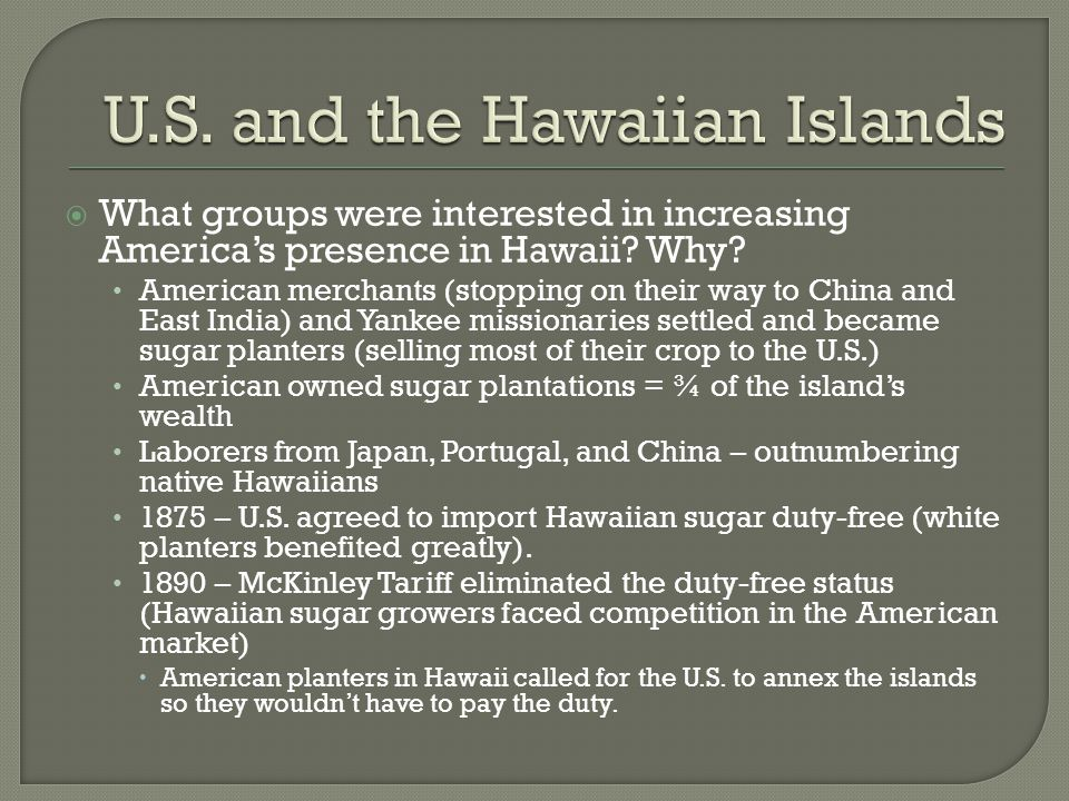 U.S. and the Hawaiian Islands