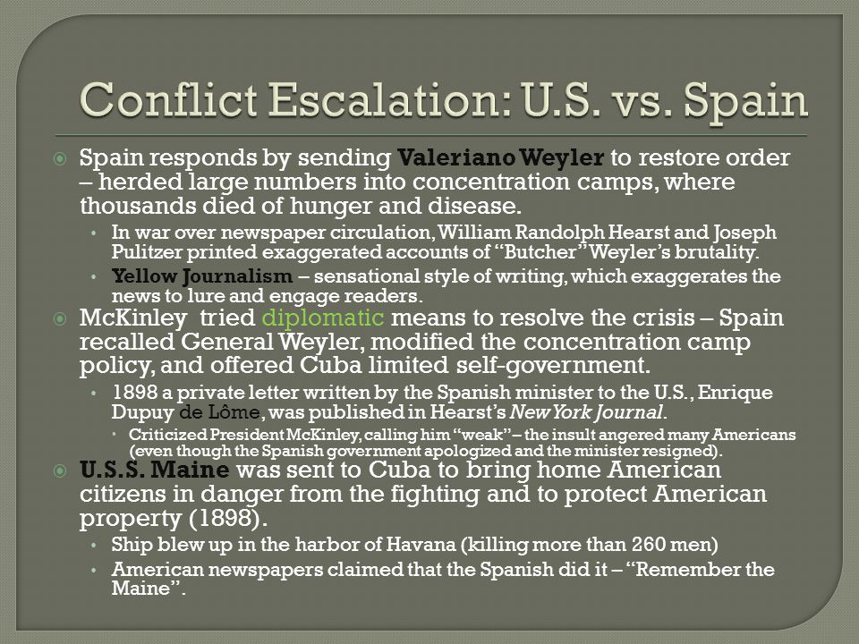 Conflict Escalation: U.S. vs. Spain