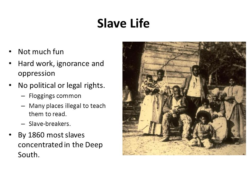 Slave Life Not much fun Hard work, ignorance and oppression