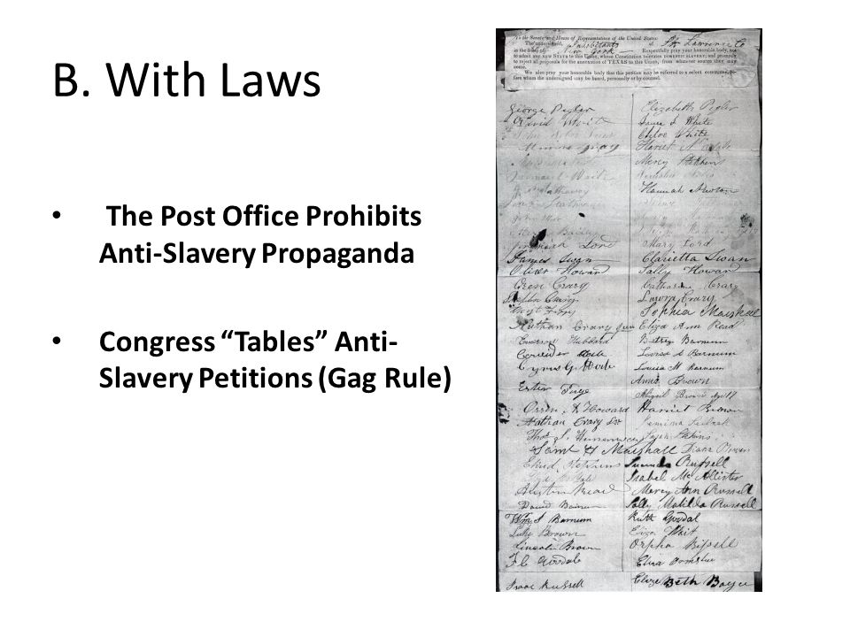 B. With Laws The Post Office Prohibits Anti-Slavery Propaganda