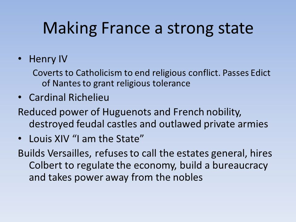 Making France a strong state