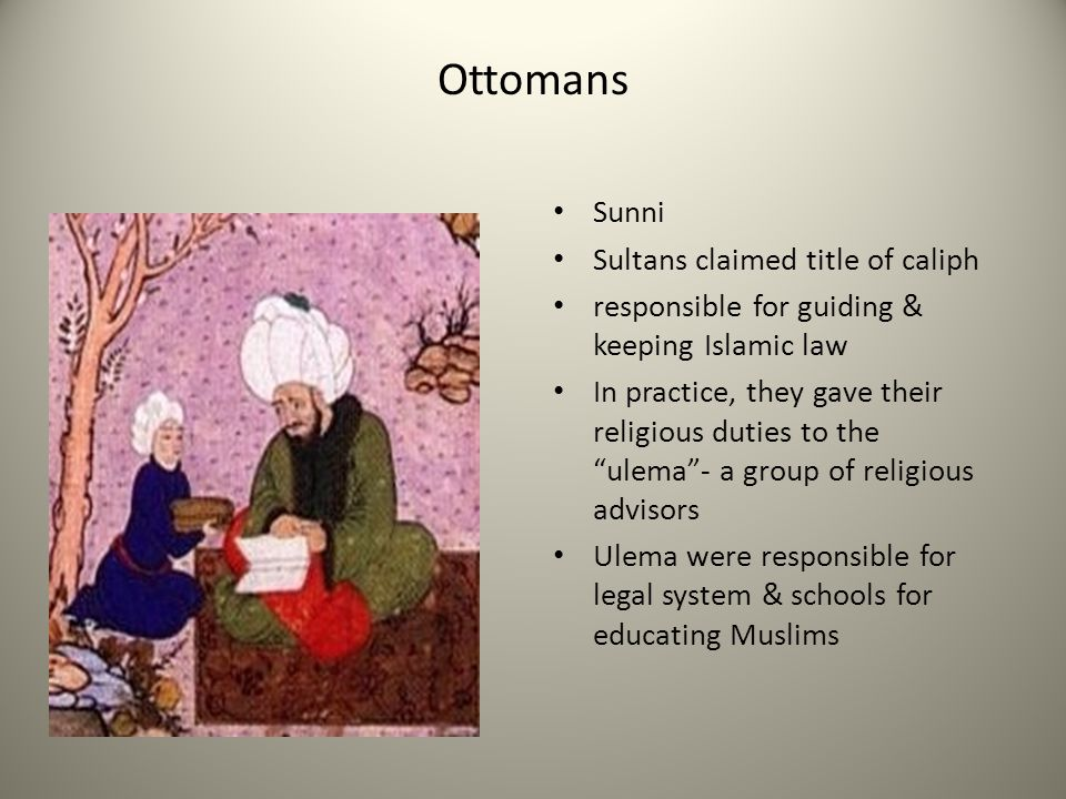 Ottomans Sunni Sultans claimed title of caliph