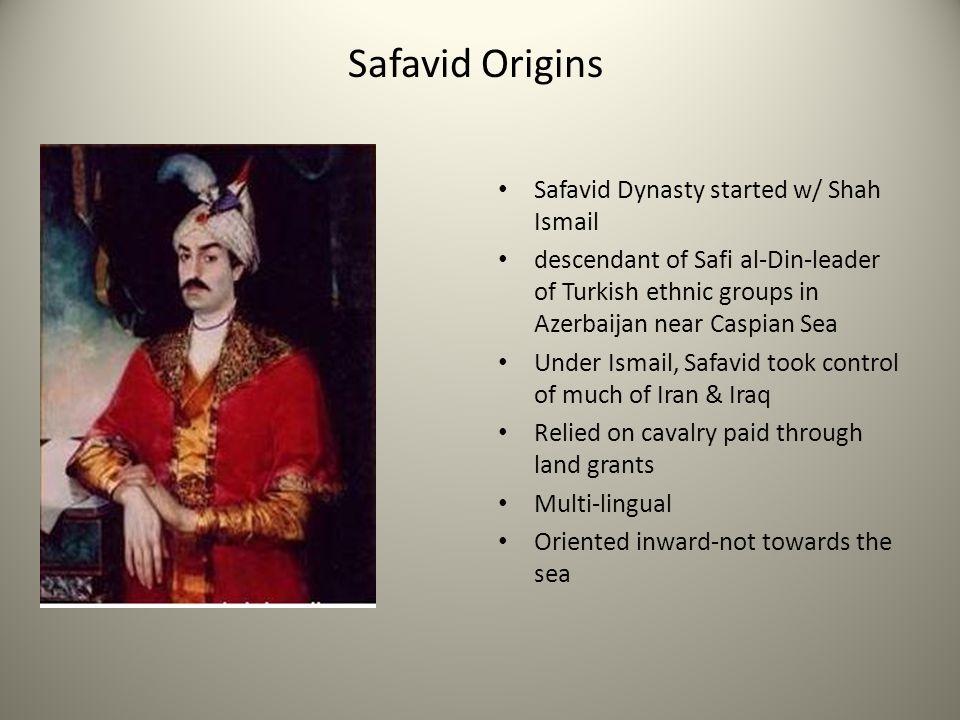 Safavid Origins Safavid Dynasty started w/ Shah Ismail