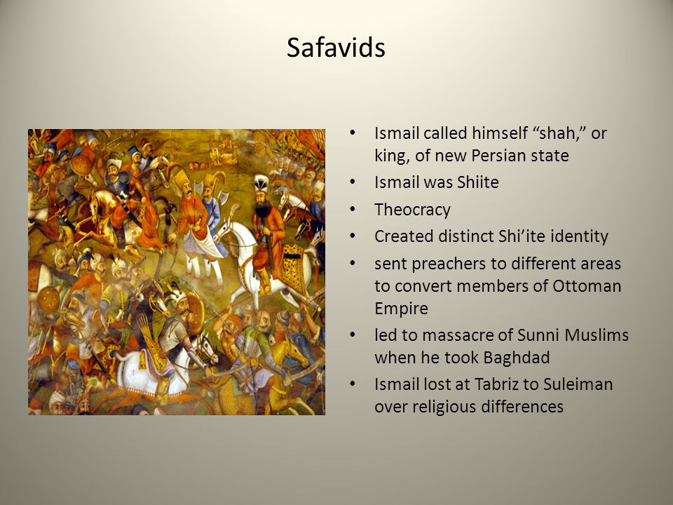 Safavids Ismail called himself shah, or king, of new Persian state