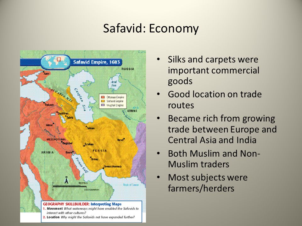 Safavid: Economy Silks and carpets were important commercial goods