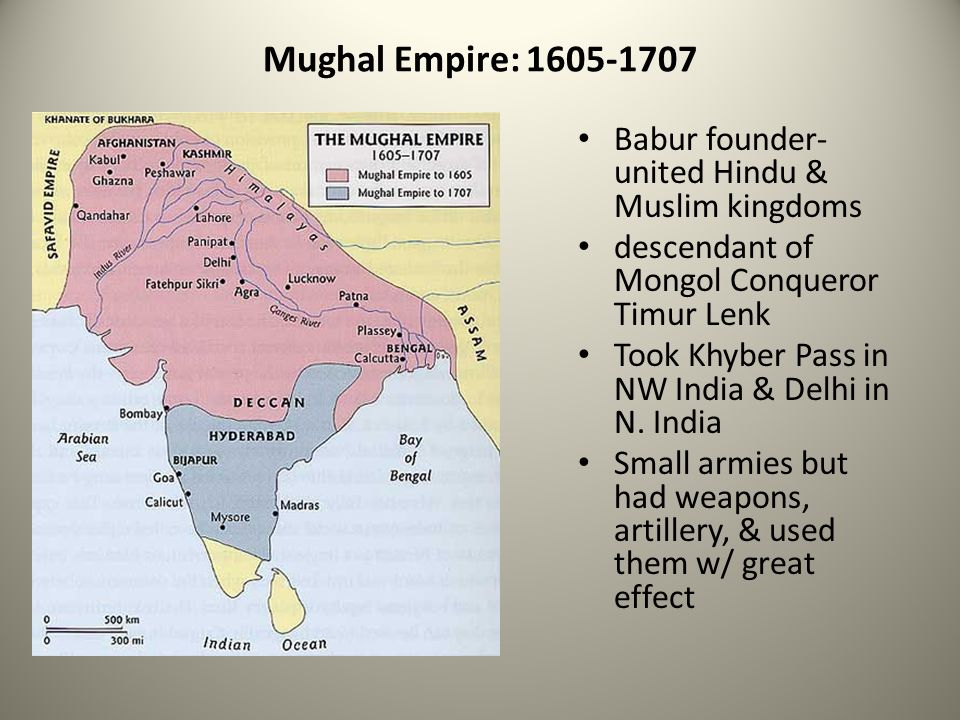 Mughal Empire: 1605-1707 Babur founder-united Hindu & Muslim kingdoms