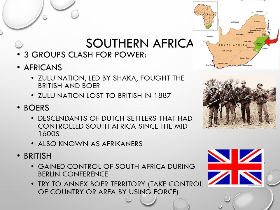 Southern Africa 3 groups clash for power: Africans Boers British
