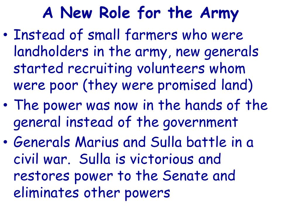A New Role for the Army