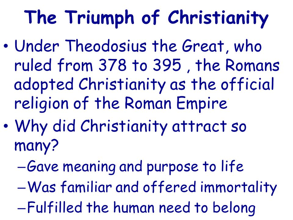 the triumph of christianity in the roman His latest book, the triumph of christianity: how a forbidden religion swept the world, examines why and how christianity conquered the roman empire (spoiler alert: convince the pagans that the christian god was more powerful than their gods.