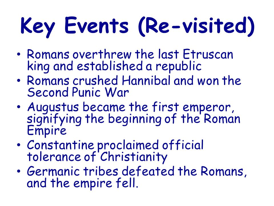 Key Events (Re-visited)