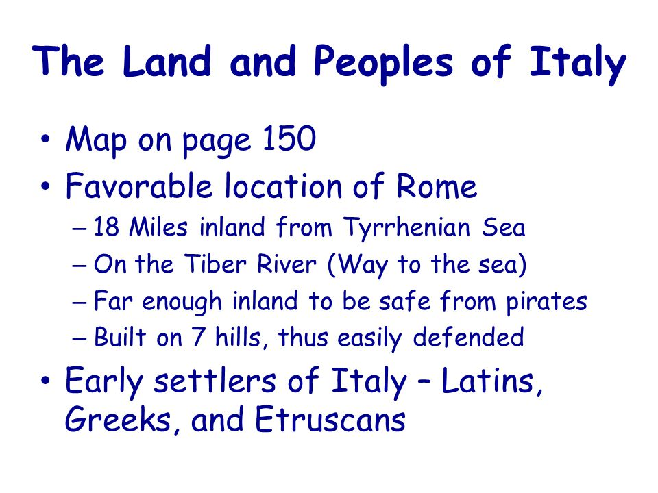 The Land and Peoples of Italy