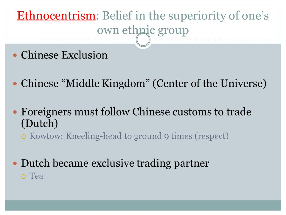 Ethnocentrism: Belief in the superiority of one's own ethnic group