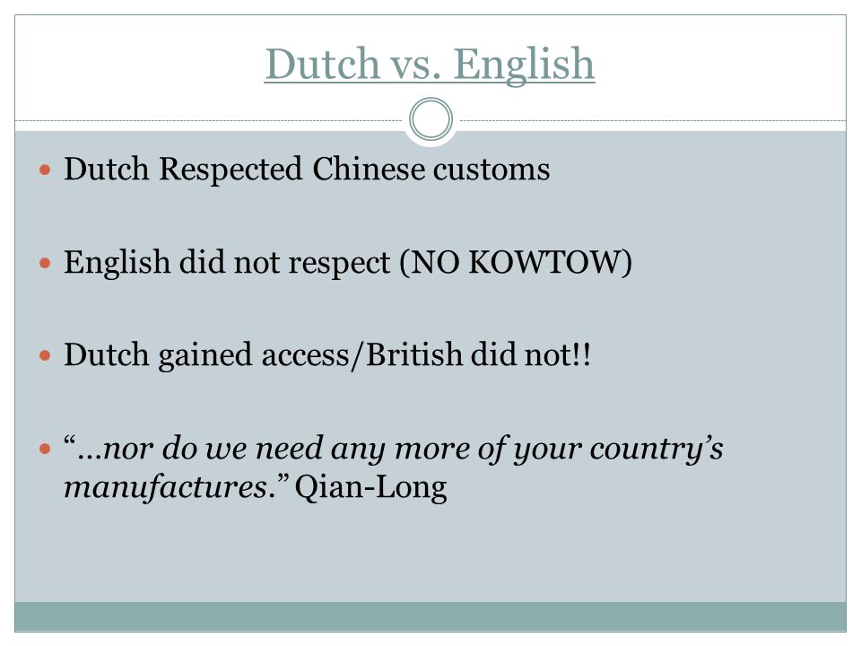 Dutch vs. English Dutch Respected Chinese customs