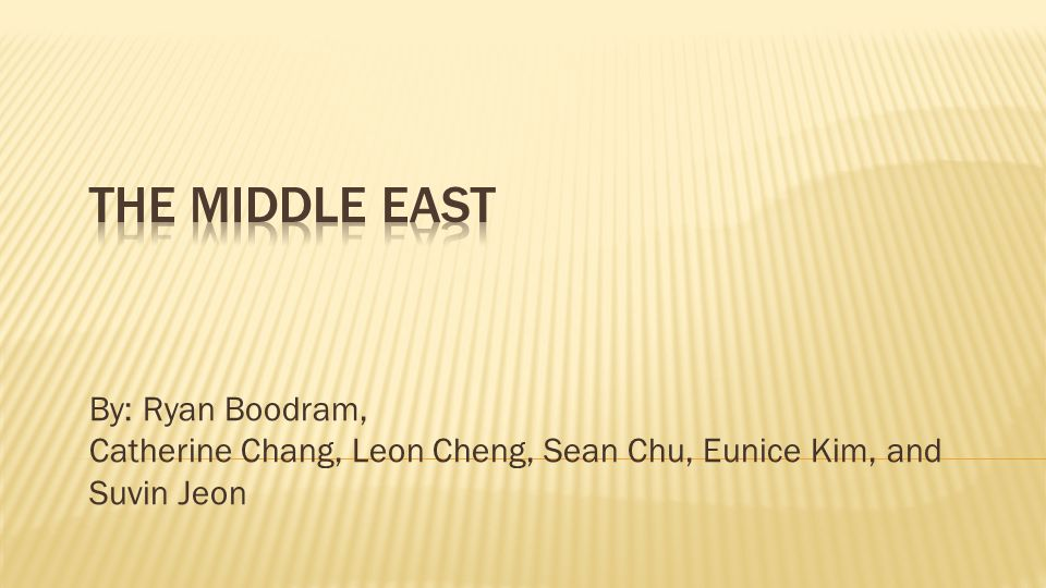The Middle East By: Ryan Boodram,