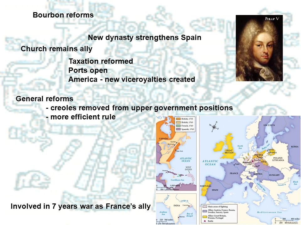 Bourbon reforms New dynasty strengthens Spain. Church remains ally. Taxation reformed. Ports open.