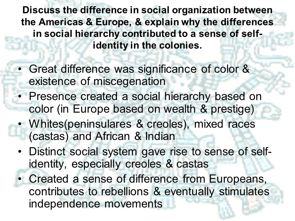 Discuss the difference in social organization between the Americas & Europe, & explain why the differences in social hierarchy contributed to a sense of self-identity in the colonies.