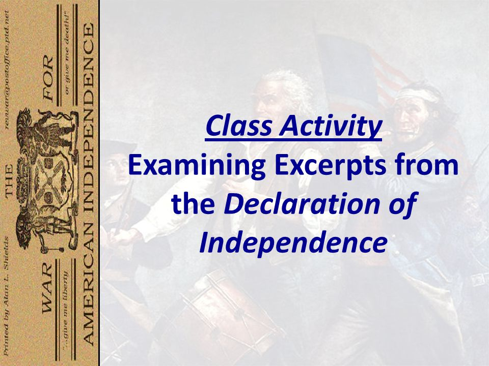 Class Activity Examining Excerpts from the Declaration of Independence