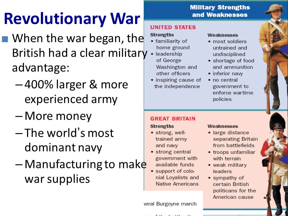Revolutionary War When the war began, the British had a clear military advantage: 400% larger & more experienced army.