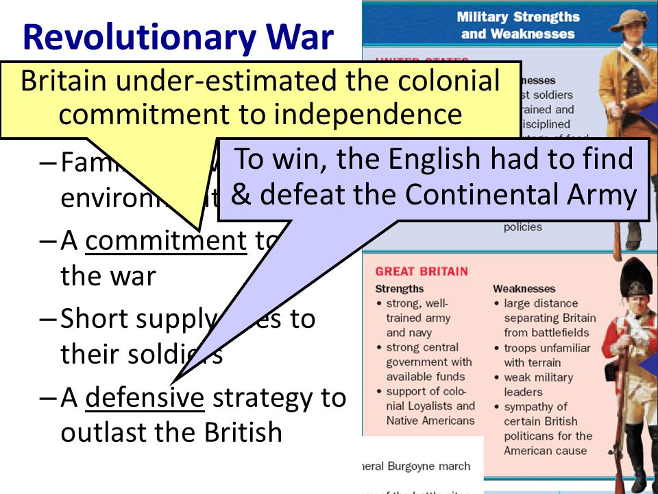 Revolutionary War Britain under-estimated the colonial commitment to independence. But, the American colonists had:
