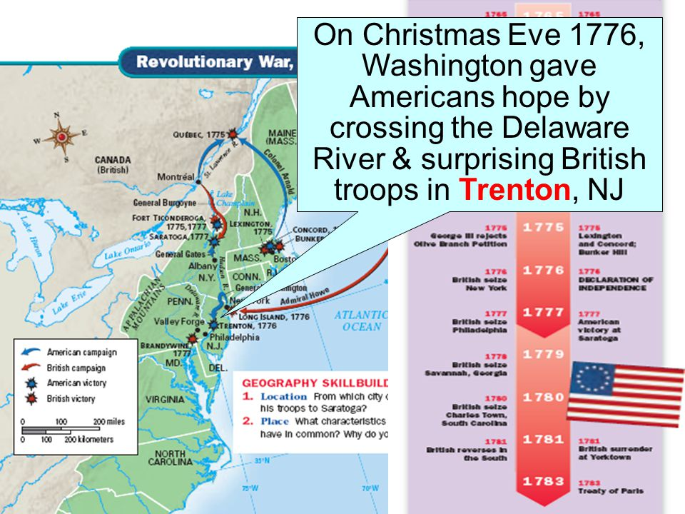 On Christmas Eve 1776, Washington gave Americans hope by crossing the Delaware River & surprising British troops in Trenton, NJ