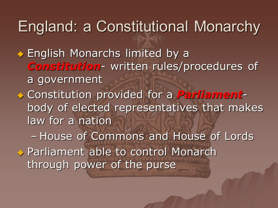 England: a Constitutional Monarchy